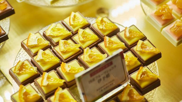 国産フルーツを使ったガナッシュに自家製ドライフルーツをのせた〔国産フルーツショコラ(各¥324/税込)〕
