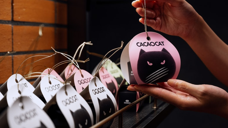 ミルク、ストロベリーなど6種のフレーバーが揃う2粒入り〔CACAOCAT  2個入り(¥313/税込)〕は、ちょっとしたプレゼントにもぴったり!