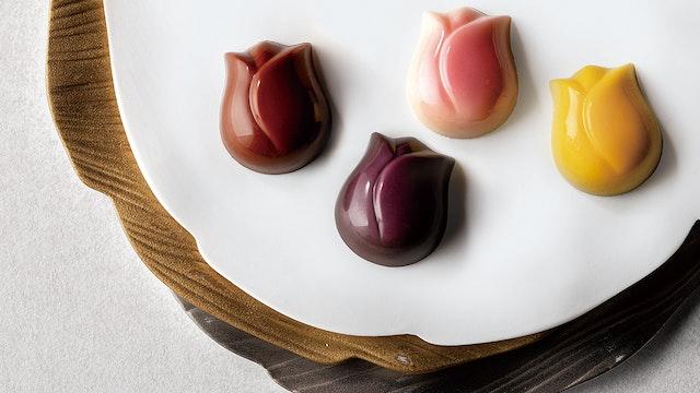 チョコレートもしっかりチューリップモチーフ。一つずつゆっくり味わいたい