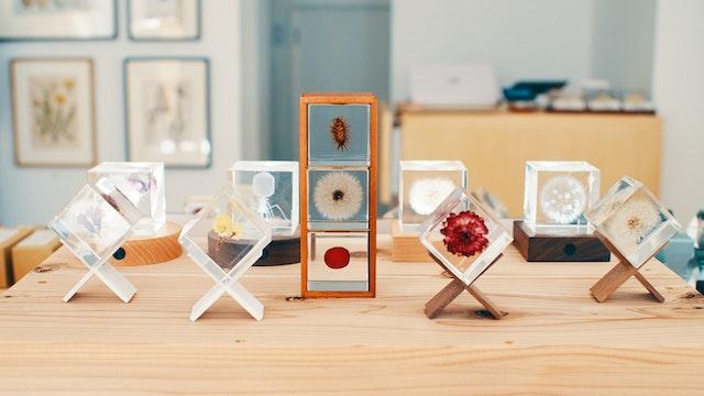 透明なアクリルに花や種子を封入した〔Sola cube〕(¥3,580〜/税抜)は、置くだけでさまになるオブジェに
