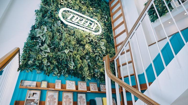 爽やかなグリーンが目を引く、2階へと続く階段