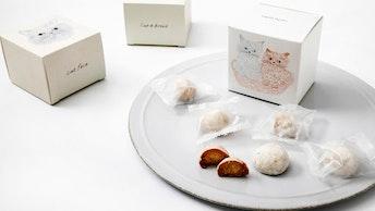 見ているだけで癒される、柔らかいタッチで描かれた猫たち〔ねこねこクッキー(6個入 ¥480/税抜)〕