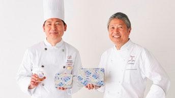 内藤シェフ(左)と西野シェフ(右)。缶にはお二人によく似たかわいいイラストが!