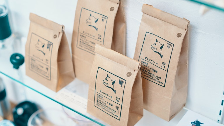 香川にある自家焙煎のコーヒーショップ「プシプシーナ珈琲」のコーヒー豆(100g ¥500〜/税抜)