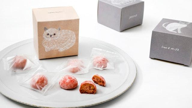 甘酸っぱいイチゴの風味がクセになる「ねこねこクッキー いちご味(1箱6個入 ¥480/税抜)」